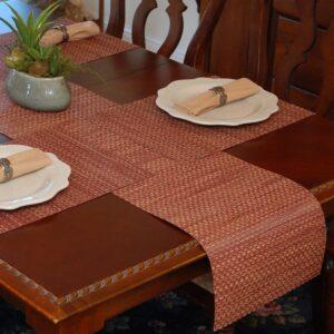 Sweet Pea Linens - Redwood (Brick & Tan) Wipe Clean 72 inch Table Runner (SKU#: R-1024-F15) - Table Setting