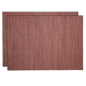 Sweet Pea Linens - Redwood (Brick & Tan) Wipe Clean Rectangle Placemats - Set of Two (SKU#: RS2-1002-F15) - Product Image