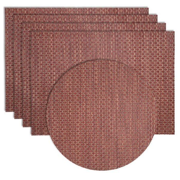 Sweet Pea Linens - Redwood (Brick & Tan) Wipe Clean Rectangle Placemats - Set of Four plus Center Round-Charger (SKU#: RS5-1002-F15) - Product Image
