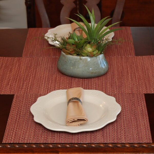 Sweet Pea Linens - Redwood (Brick & Tan) Wipe Clean Rectangle Placemats - Set of Four plus Center Round-Charger (SKU#: RS5-1002-F15) - Table Setting