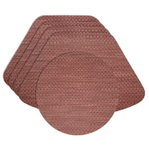 Sweet Pea Linens - Redwood (Brick & Tan) Wipe Clean Wedge-Shaped Placemats - Set of Four plus Center Round-Charger (SKU#: RS5-1006-F15) - Product Image