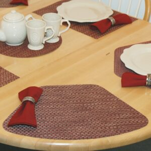 Sweet Pea Linens - Redwood (Brick & Tan) Wipe Clean Wedge-Shaped Placemats - Set of Four plus Center Round-Charger (SKU#: RS5-1006-F15) - Table Setting