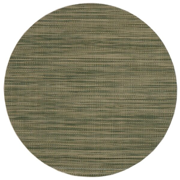 Sweet Pea Linens - Green/Tan Wipe Clean Charger-Center Round Placemat (SKU#: R-1015-F16) - Product Image