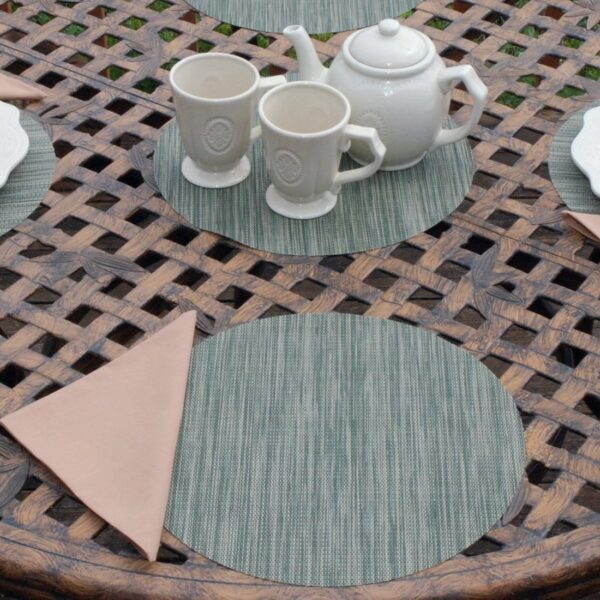 Sweet Pea Linens - Green/Tan Wipe Clean Charger-Center Round Placemat (SKU#: R-1015-F16) - Table Setting