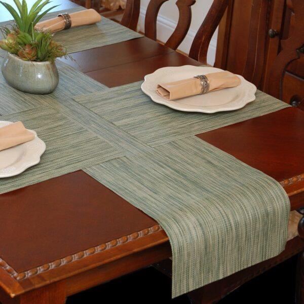 Sweet Pea Linens - Green/Tan Wipe Clean 72 inch Table Runner (SKU#: R-1024-F16) - Table Setting