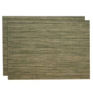 Sweet Pea Linens - Green/Tan Wipe Clean Rectangle Placemats - Set of Two (SKU#: RS2-1002-F16) - Product Image