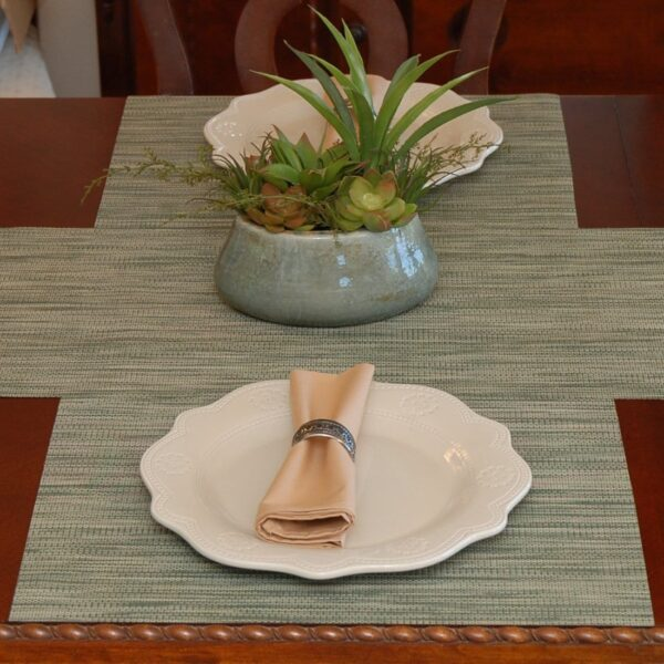 Sweet Pea Linens - Green/Tan Wipe Clean Rectangle Placemats - Set of Two (SKU#: RS2-1002-F16) - Table Setting