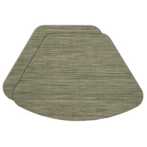 Sweet Pea Linens - Green/Tan Wipe Clean Wedge-Shaped Placemats - Set of Two (SKU#: RS2-1006-F16) - Product Image
