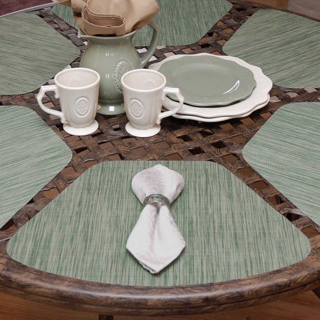 Sweet Pea Linens - Green/Tan Wipe Clean Wedge-Shaped Placemats - Set of Two (SKU#: RS2-1006-F16) - Table Setting
