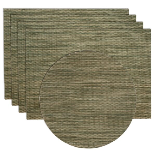 Sweet Pea Linens - Green/Tan Wipe Clean Rectangle Placemats - Set of Four plus Center Round-Charger (SKU#: RS5-1002-F16) - Product Image