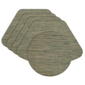 Sweet Pea Linens - Green/Tan Wipe Clean Wedge-Shaped Placemats - Set of Four plus Center Round-Charger (SKU#: RS5-1006-F16) - Product Image