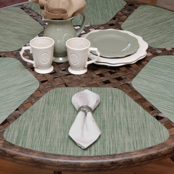 Sweet Pea Linens - Green/Tan Wipe Clean Wedge-Shaped Placemats - Set of Four plus Center Round-Charger (SKU#: RS5-1006-F16) - Table Setting