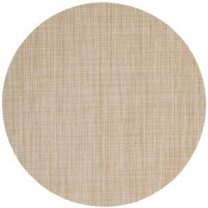 Sweet Pea Linens - Cream/Tan Wipe Clean Charger-Center Round Placemat (SKU#: R-1015-F17) - Product Image