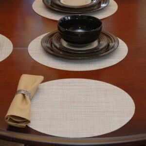 Sweet Pea Linens - Cream/Tan Wipe Clean Charger-Center Round Placemat (SKU#: R-1015-F17) - Table Setting