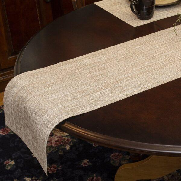 Sweet Pea Linens - Cream/Tan Wipe Clean 72 inch Table Runner (SKU#: R-1024-F17) - Table Setting