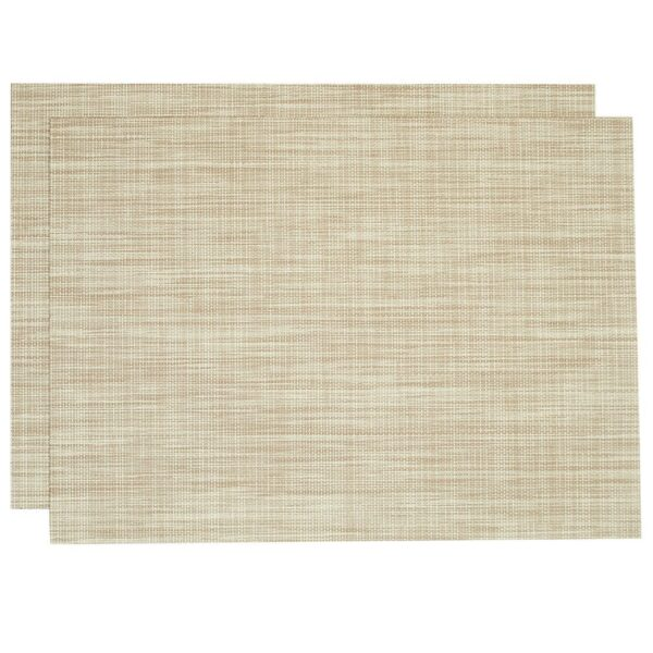 Sweet Pea Linens - Cream/Tan Wipe Clean Rectangle Placemats - Set of Two (SKU#: RS2-1002-F17) - Product Image