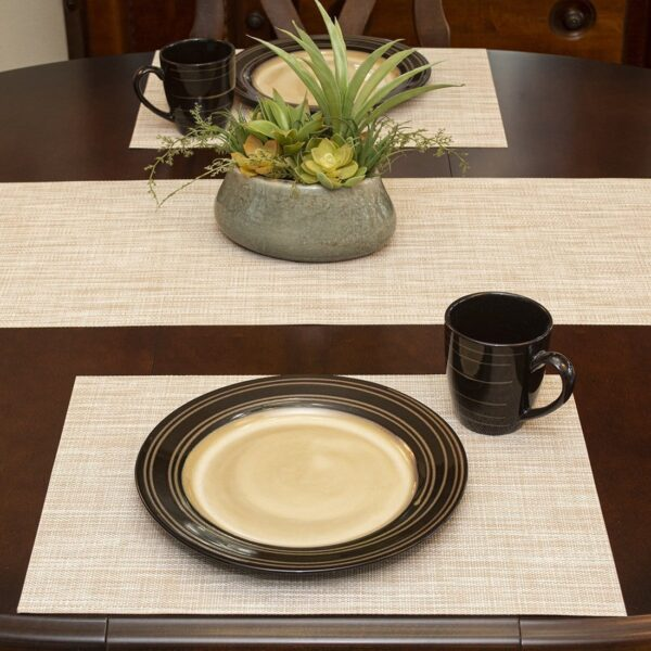 Sweet Pea Linens - Cream/Tan Wipe Clean Rectangle Placemats - Set of Two (SKU#: RS2-1002-F17) - Table Setting