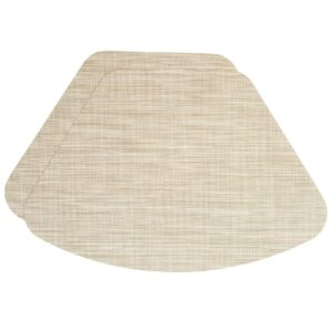 Sweet Pea Linens - Cream/Tan Wipe Clean Wedge-Shaped Placemats - Set of Two (SKU#: RS2-1006-F17) - Product Image