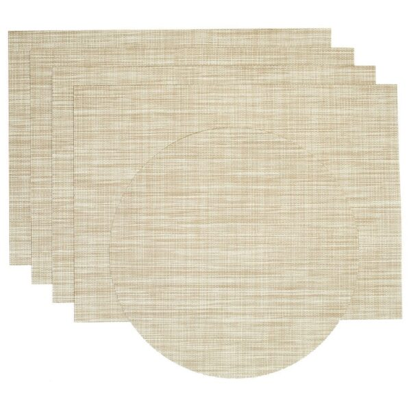 Sweet Pea Linens - Cream/Tan Wipe Clean Rectangle Placemats - Set of Four plus Center Round-Charger (SKU#: RS5-1002-F17) - Product Image