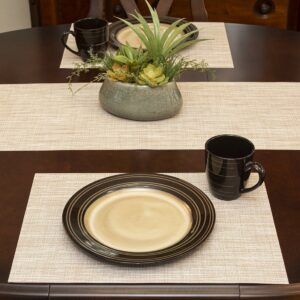 Sweet Pea Linens - Cream/Tan Wipe Clean Rectangle Placemats - Set of Four plus Center Round-Charger (SKU#: RS5-1002-F17) - Table Setting