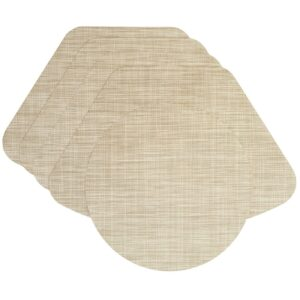 Sweet Pea Linens - Cream/Tan Wipe Clean Wedge-Shaped Placemats - Set of Four plus Center Round-Charger (SKU#: RS5-1006-F17) - Product Image