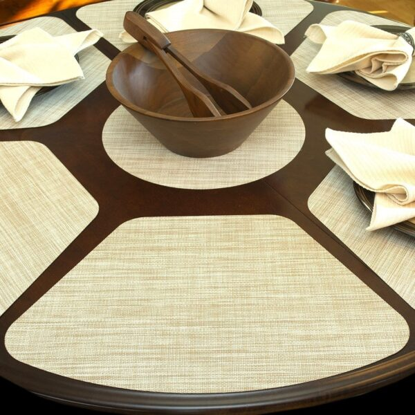 Sweet Pea Linens - Cream/Tan Wipe Clean Wedge-Shaped Placemats - Set of Four plus Center Round-Charger (SKU#: RS5-1006-F17) - Table Setting