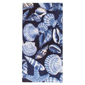 Sweet Pea Linens - Blue Seashell Rolled Hem Cloth Napkin (SKU#: R-1010-F18) - Product Image