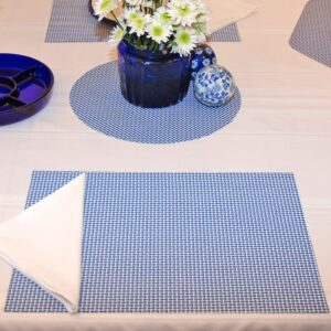 Sweet Pea Linens - Blue/White Wipe Clean Rectangle Placemats - Set of Two (SKU#: RS2-1002-F18) - Table Setting