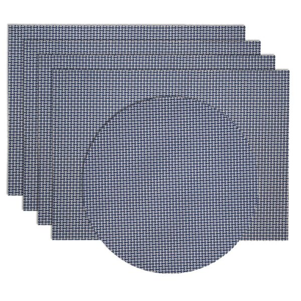 Sweet Pea Linens - Blue/White Wipe Clean Rectangle Placemats - Set of Four plus Center Round-Charger (SKU#: RS5-1002-F18) - Product Image