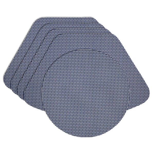 Sweet Pea Linens - Blue/White Wipe Clean Wedge-Shaped Placemats - Set of Four plus Center Round-Charger (SKU#: RS5-1006-F18) - Product Image
