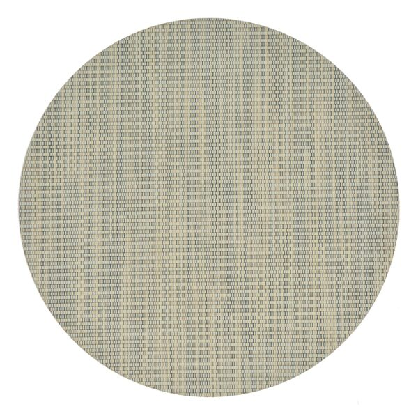 Sweet Pea Linens - Seafoam Green/Tan Wipe Clean Charger-Center Round Placemat (SKU#: R-1015-F19) - Product Image