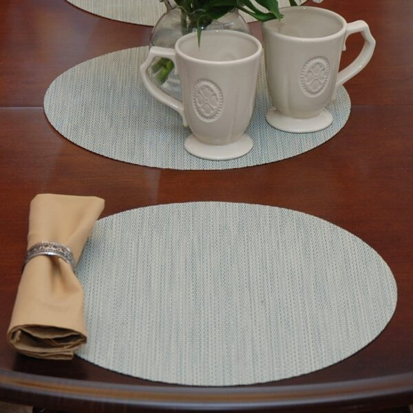 Sweet Pea Linens - Seafoam Green/Tan Wipe Clean Charger-Center Round Placemat (SKU#: R-1015-F19) - Table Setting
