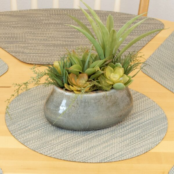 Sweet Pea Linens - Seafoam Green/Tan Wipe Clean Charger-Center Round Placemat (SKU#: R-1015-F19) - Alternate Table Setting