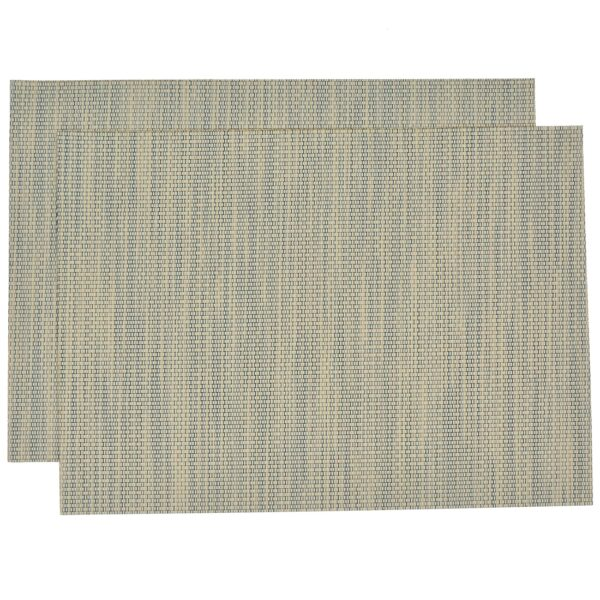 Sweet Pea Linens - Seafoam Green/Tan Wipe Clean Rectangle Placemats - Set of Two (SKU#: RS2-1002-F19) - Product Image