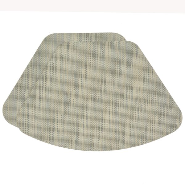 Sweet Pea Linens - Seafoam Green/Tan Wipe Clean Wedge-Shaped Placemats - Set of Two (SKU#: RS2-1006-F19) - Product Image