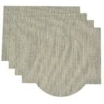 Sweet Pea Linens - Seafoam Green/Tan Wipe Clean Rectangle Placemats - Set of Four plus Center Round-Charger (SKU#: RS5-1002-F19) - Product Image