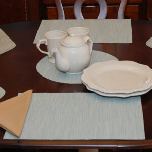 Sweet Pea Linens - Seafoam Green/Tan Wipe Clean Rectangle Placemats - Set of Four plus Center Round-Charger (SKU#: RS5-1002-F19) - Table Setting