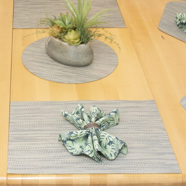 Sweet Pea Linens - Seafoam Green/Tan Wipe Clean Rectangle Placemats - Set of Four plus Center Round-Charger (SKU#: RS5-1002-F19) - Alternate Table Setting