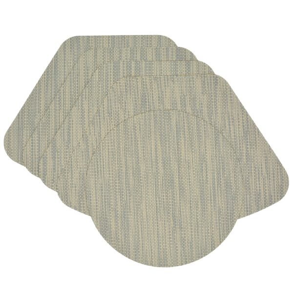 Sweet Pea Linens - Seafoam Green/Tan Wipe Clean Wedge-Shaped Placemats - Set of Four plus Center Round-Charger (SKU#: RS5-1006-F19) - Product Image
