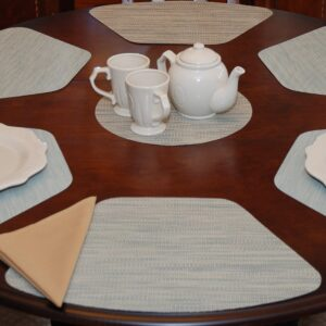 Sweet Pea Linens - Seafoam Green/Tan Wipe Clean Wedge-Shaped Placemats - Set of Four plus Center Round-Charger (SKU#: RS5-1006-F19) - Table Setting