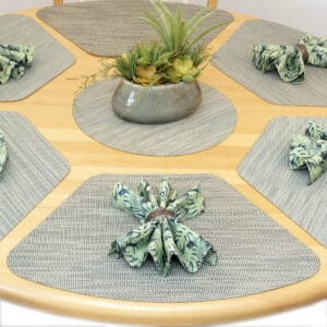 Seafoam Green & Tan Wipe-Clean Table Linen Collection