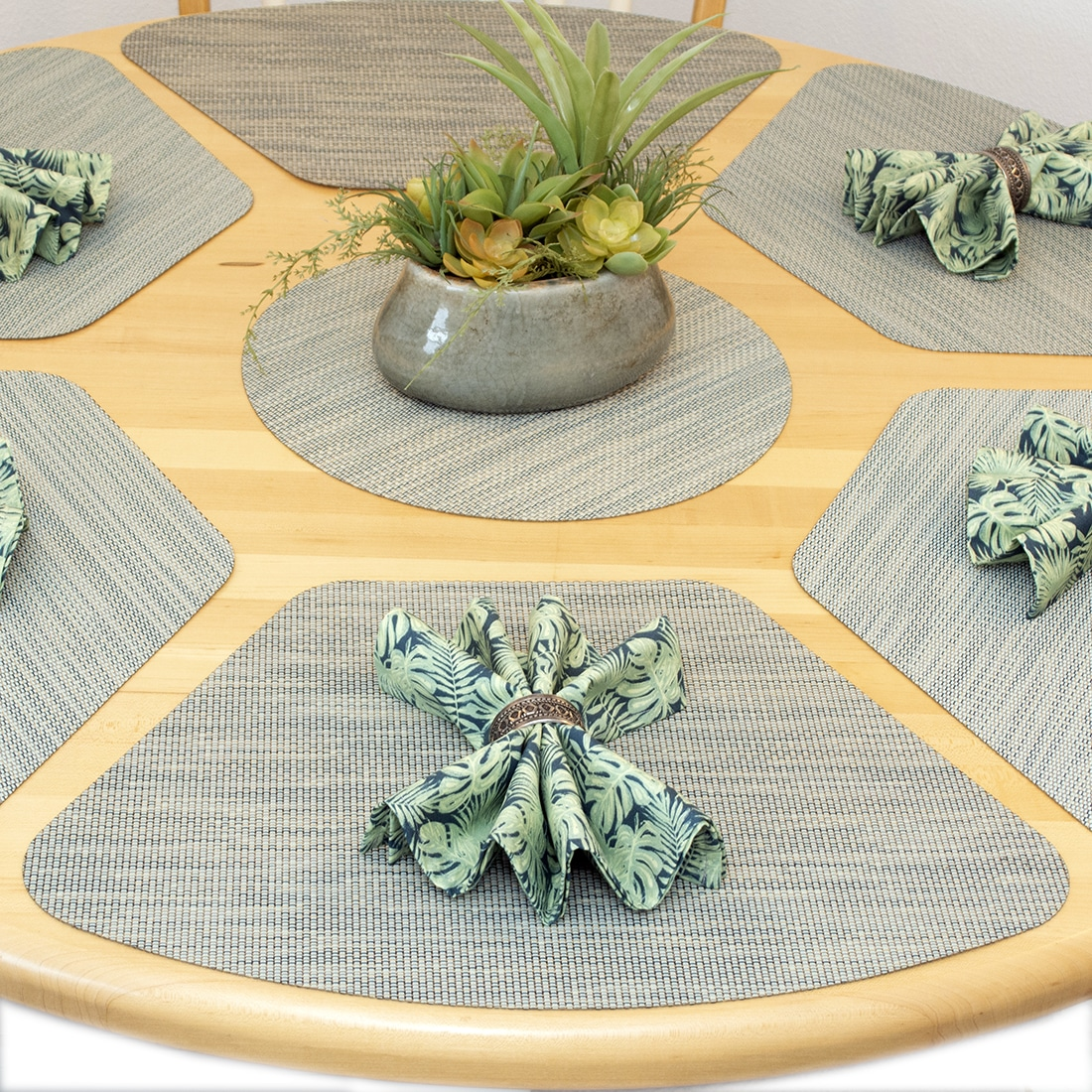Sweet Pea Linens - Seafoam Green/Tan Wipe Clean Wedge-Shaped Placemats - Set of Four plus Center Round-Charger (SKU#: RS5-1006-F19) - Alternate Table Setting