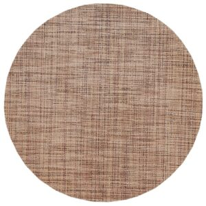 Sweet Pea Linens - Brown/Tan Wipe Clean Charger-Center Round Placemat (SKU#: R-1015-F20) - Product Image