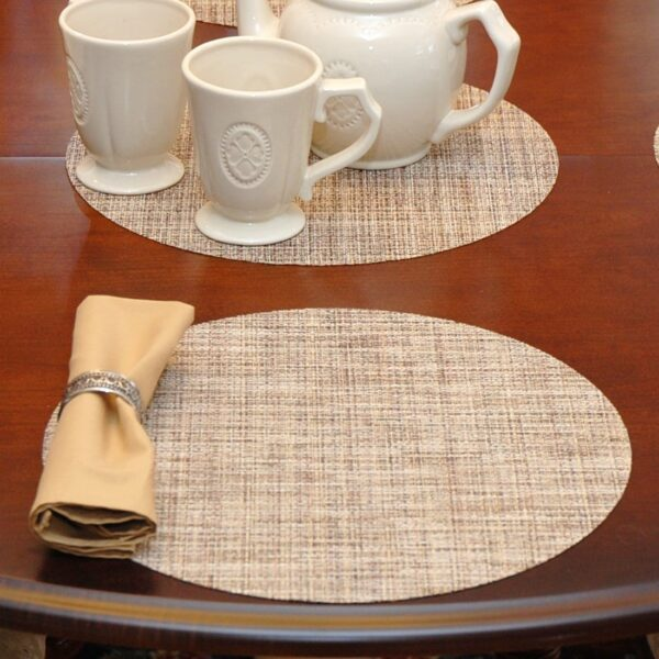 Sweet Pea Linens - Brown/Tan Wipe Clean Charger-Center Round Placemat (SKU#: R-1015-F20) - Table Setting