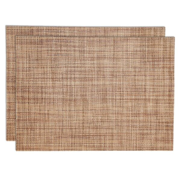 Sweet Pea Linens - Brown/Tan Wipe Clean Rectangle Placemats - Set of Two (SKU#: RS2-1002-F20) - Product Image