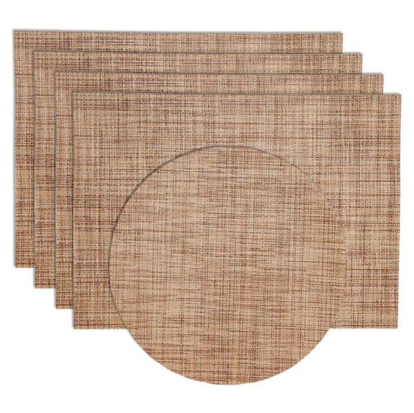 Sweet Pea Linens - Brown/Tan Wipe Clean Rectangle Placemats - Set of Four plus Center Round-Charger (SKU#: RS5-1002-F20) - Product Image