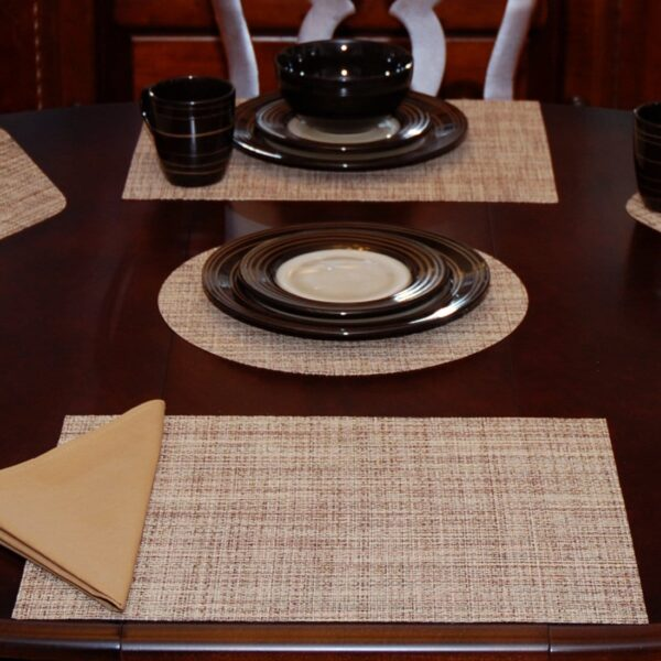 Sweet Pea Linens - Brown/Tan Wipe Clean Rectangle Placemats - Set of Four plus Center Round-Charger (SKU#: RS5-1002-F20) - Table Setting