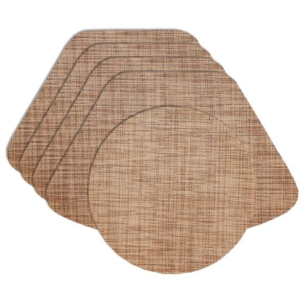 Sweet Pea Linens - Brown/Tan Wipe Clean Wedge-Shaped Placemats - Set of Four plus Center Round-Charger (SKU#: RS5-1006-F20) - Product Image