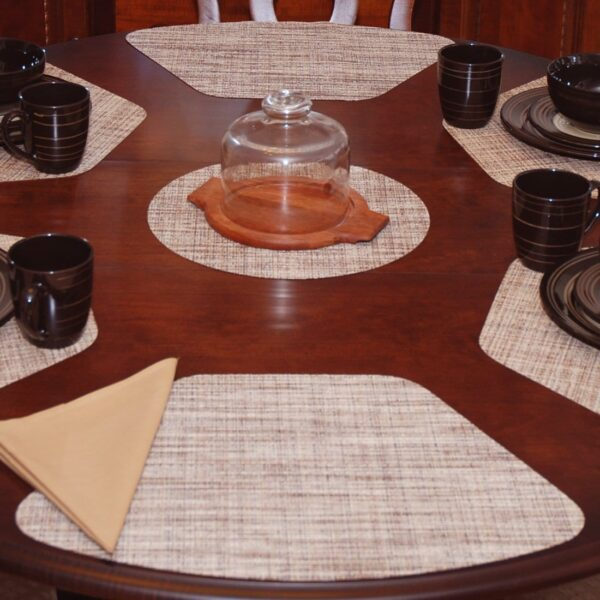 Sweet Pea Linens - Brown/Tan Wipe Clean Wedge-Shaped Placemats - Set of Four plus Center Round-Charger (SKU#: RS5-1006-F20) - Table Setting