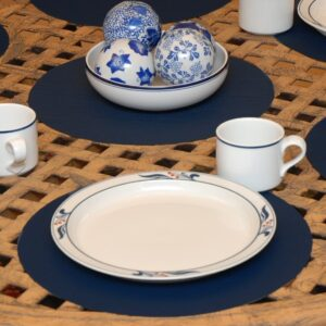 Sweet Pea Linens - Dark Blue Wipe Clean Charger-Center Round Placemat (SKU#: R-1015-F21) - Table Setting